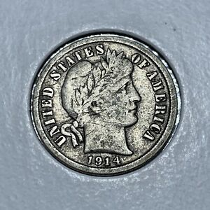 1914 D BARBER  SILVER ONE DIME IN FINE CONDITION