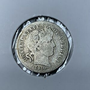 1910 BARBER  SILVER ONE DIME IN
