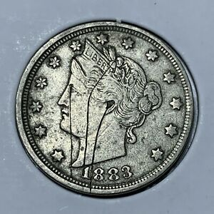 1883 LIBERTY V NICKEL   WITHOUT CENTS    LY FINE DETAILS