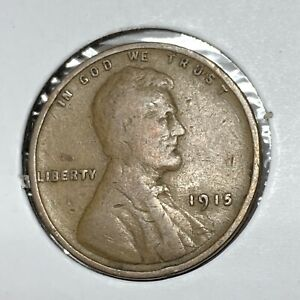 1915 LINCOLN WHEAT CENT PENNY 1C VG TO FINE CONDITION