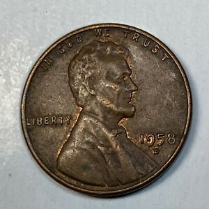 LINCOLN WHEAT PENNY 1958 D ERROR COIN WITH PARTIAL MISSING