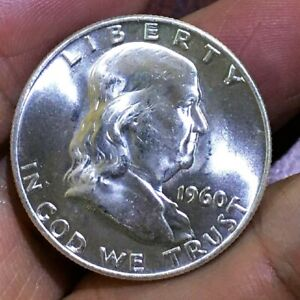 1960 D FRANKLIN SILVER 50 CENTS GEM  UNCIRCULATED FBL  THIS NICE