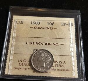CANADA 1900 10 CENTS ICCS GRADE CERTIFIED  EF 40 HIGH GRADE STERLING SILVER COIN