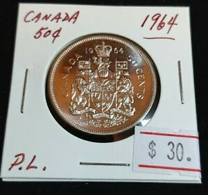 CANADA 1964 50 CENTS SILVER PROOF LIKE MIRRORED SURFACE ELIZABETH II COIN  T78