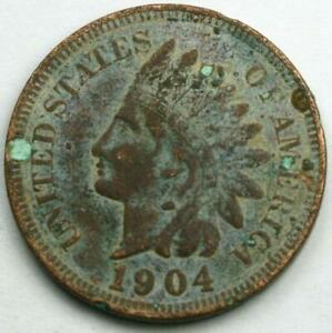 LOTS OF CHARACTER OLD US 1884 INDIAN PENNY ONE CENT COIN FULL LIBERTY FREE SHIP