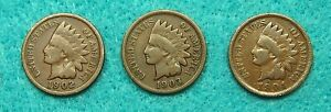 1901 1902 & 1903  INDIAN HEAD CENT  LOT  OF 3    COPPER               90922201