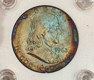 OUTRAGEOUS RAINBOW 1962 D  U.S. BEN FRANKLIN SILVER HALF DOLLAR SEE OTHER COINS