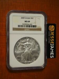 2009 $1 AMERICAN SILVER EAGLE NGC MS69 CLASSIC BROWN LABEL