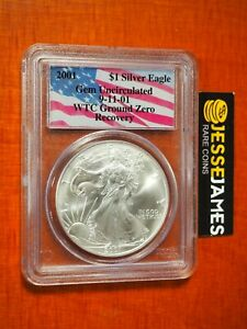 2001 SILVER EAGLE PCGS GEM UNCIRCULATED WORLD TRADE CENTER WTC RECOVERY 9/11