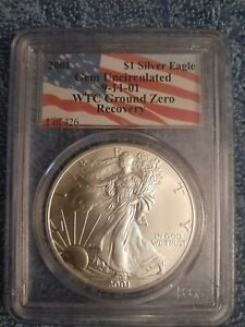 2001 1 OF 426 SILVER EAGLE PCGS WTC WORLD TRADE CENTER 9/11 GROUND ZERO RECOVERY