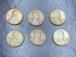 1970 D 1968 1966 1951 D 1963 D 1970 D X6 US PENNY COIN LOT 1 CENT COLLECTION