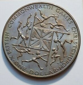 1974 NEW ZEALAND ONE DOLLAR COMMONWEALTH GAMES WORLD COIN