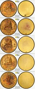 Click now to see the BUY IT NOW Price! ETHIOPIA  HAILE SELASSIE 75TH ANNI. GILT PATTERN SET $10 200 ALL PCGS SP60 1966