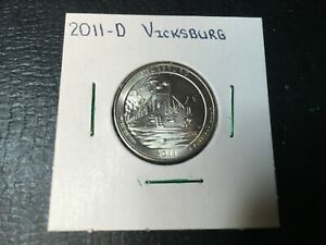 2011 D VICKSBURG NATIONAL PARK QUARTER   ALMOST UNCIRCULATED IN 2X2 HOLDER