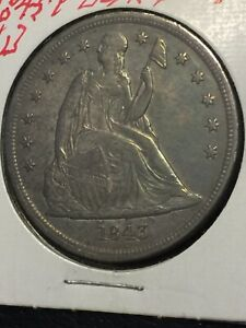 LOT 544   1843 SEATED LIBERTY $1 SILVER DOLLAR    NICE EARLY US COIN HIGH GRADE