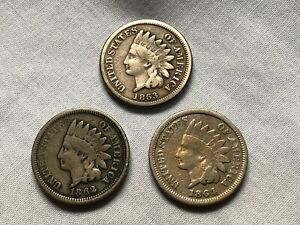 1862 1863 1864 INDIAN HEAD CENT 3 DIFFERENT G VG