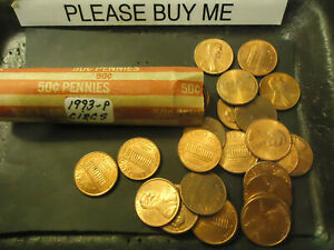 1993 P ROLL OF CIRCS LINCOLN CENTS               S&H C/S