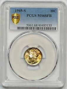 Click now to see the BUY IT NOW Price! 1945 S PCGS MS 68 FB MERCURY DIME  FULLY STRUCK  BEAUTIFUL COLOR  PQ  LOW POP 8