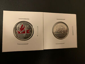 2009 CANADIAN25 CENT CINDY KLLASSEN SET  2 COINS ONE COLORED  UNC