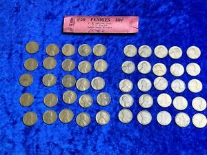 1950 S LINCOLN WHEAT ONE 1 CENT PENNY ROLL X50 COINS