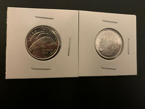 2013 CANADA 25 CENT ARCTIC EXPEDITION & WHALE LOT COIN SET UNC 2 COINS
