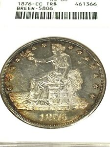 SALE    1876  CC U.S. SILVER TRADE DOLLAR MINT STATE  60 ANACS  BREEN 5806