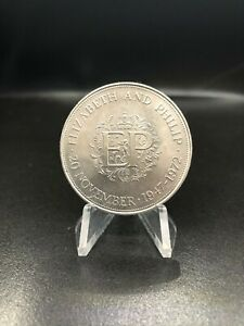 1972 SILVER WEDDING ANNIVERSARY UK 25 PENCE CROWN