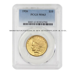 1926 $10 GOLD INDIAN PCGS MS63 CHOICE GRADED GOLD EAGLE PHILADELPHIA COIN