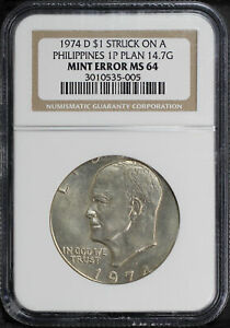 Click now to see the BUY IT NOW Price! 1974 D EISENHOWER DOLLAR STRUCK ON A PHILIPPINE PESO PLANCHET NGC MS 64