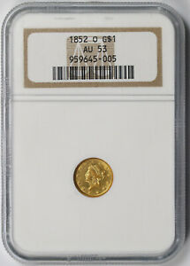 1852 O LIBERTY HEAD GOLD DOLLAR $1 AU 53 NGC NEW ORLEANS MINT