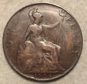 1906  UK  BRONZE BRITISH  1 PENNY  ONE PENNY COIN