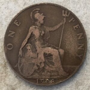 1908  UK  BRONZE BRITISH  1 PENNY  ONE PENNY COIN