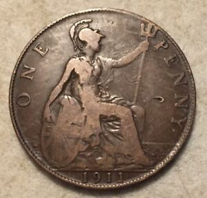 1911  UK  BRONZE BRITISH  1 PENNY  ONE PENNY COIN