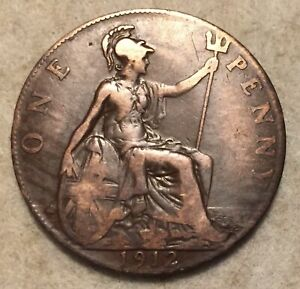 1912  UK  BRONZE BRITISH  1 PENNY  ONE PENNY COIN