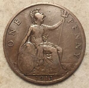 1913  UK  BRONZE BRITISH  1 PENNY  ONE PENNY COIN