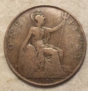 1914  UK  BRONZE BRITISH  1 PENNY  ONE PENNY COIN