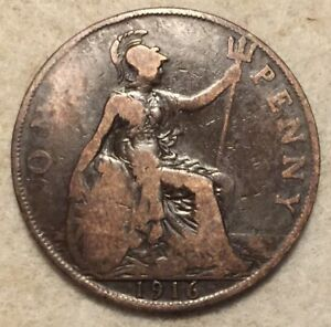 1916  UK  BRONZE BRITISH  1 PENNY  ONE PENNY COIN