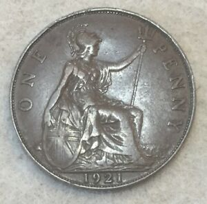 1921  UK  BRONZE BRITISH  1 PENNY  ONE PENNY COIN