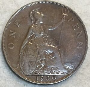 1930  UK  BRONZE BRITISH  1/2 PENNY  ONE HALF PENNY COIN