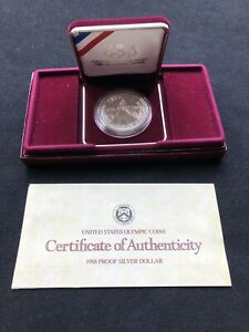 UNITED STATES MINT 1988 OLYMPIC SILVER DOLLAR COA OGP INCLUDES ORIGINAL BOX