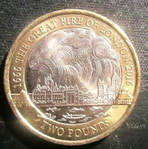 2016  GREAT FIRE OF LONDON  2 COIN EXCELLENT CONDITION