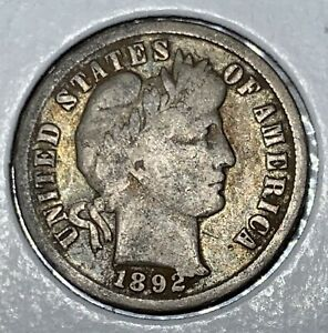 1892 P BARBER DIME   NICE CIRCULATED COIN   DIE CHIP ERROR