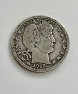 1912 BARBER SILVER QUARTER  P  AS SHOWN