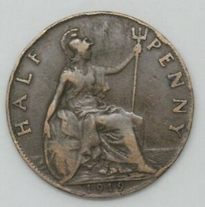 GEORGE V 1919 HALFPENNY COIN