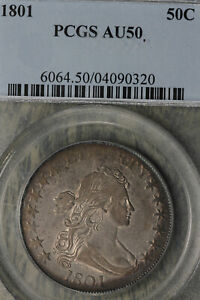 Click now to see the BUY IT NOW Price!  1801 DRAPED BUST HALF DOLLAR   PCGS AU50    O 101