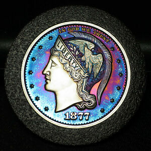 1877 HELMETED LIBERTY .999 SILVER HALF DOLLAR TONED 2013 GROVE MINTING COMPANY