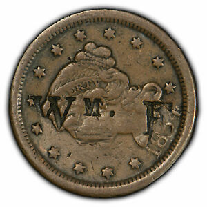 1854 1C BRAIDED HAIR LARGE CENT CONTEMPORARY COUNTERSTAMPED   WM. E   SKU Y1326