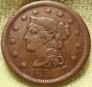 1850 XF HIGH GRADE BRAIDED HAIR LARGE CENT  GREAT DETAILS