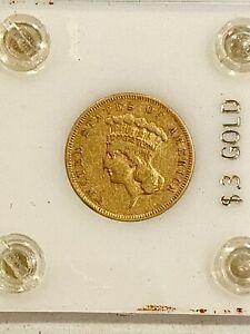 1855  U.S. $3 GOLD PIECE SEE OTHER GOLD SILVER COINS & JEWELRY