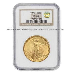 1925 $20 SAINT GAUDENS GOLD DOUBLE EAGLE NGC MS63 CHOICE GRADED PQ APPROVED